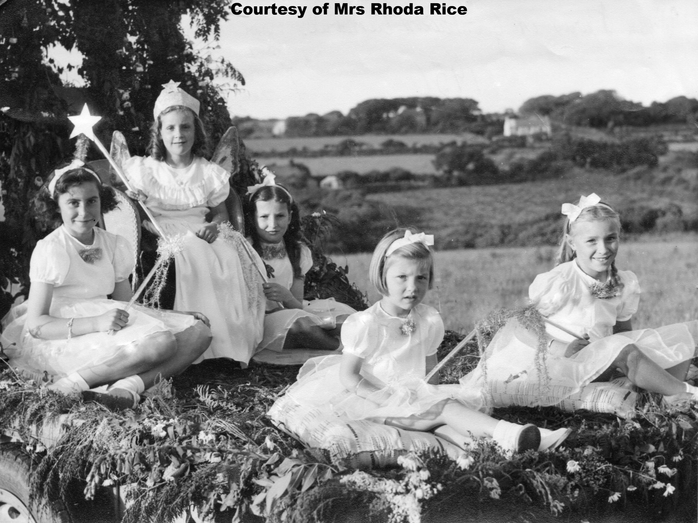 Mary Strongman-Joy Harris-Joy Solway-Zoe Romple-Unknown 1950 Goonhavern Carnival
