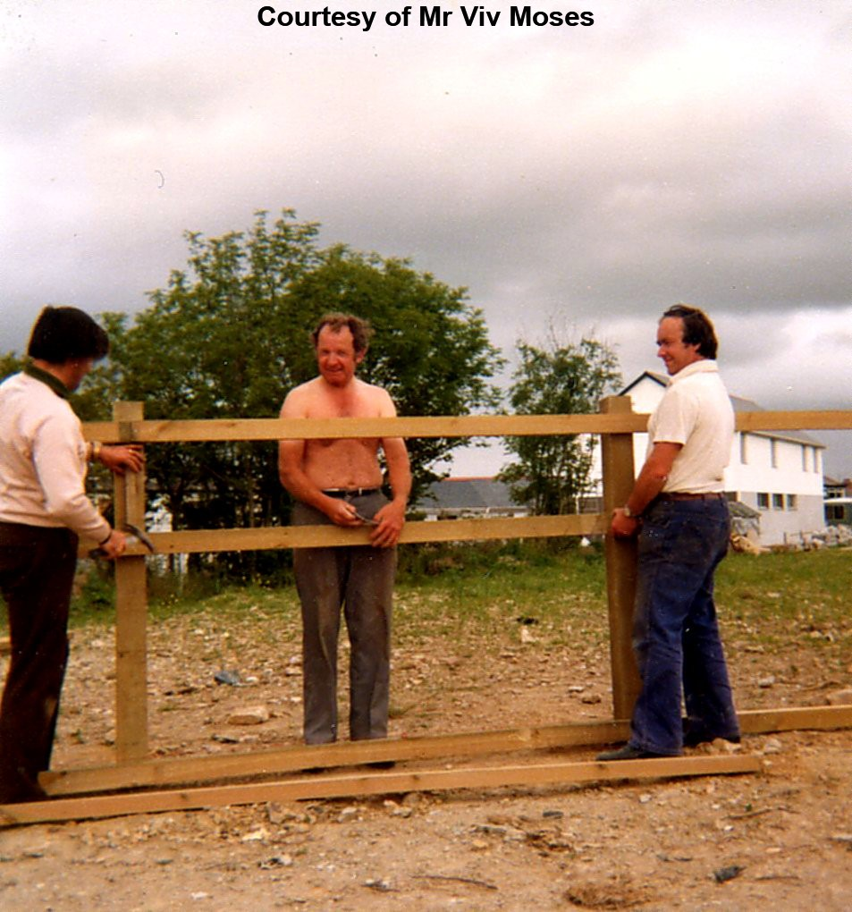 Willie Hosking, Viv Moses and Tony Hosking marking out the Village Park - Circa 1975