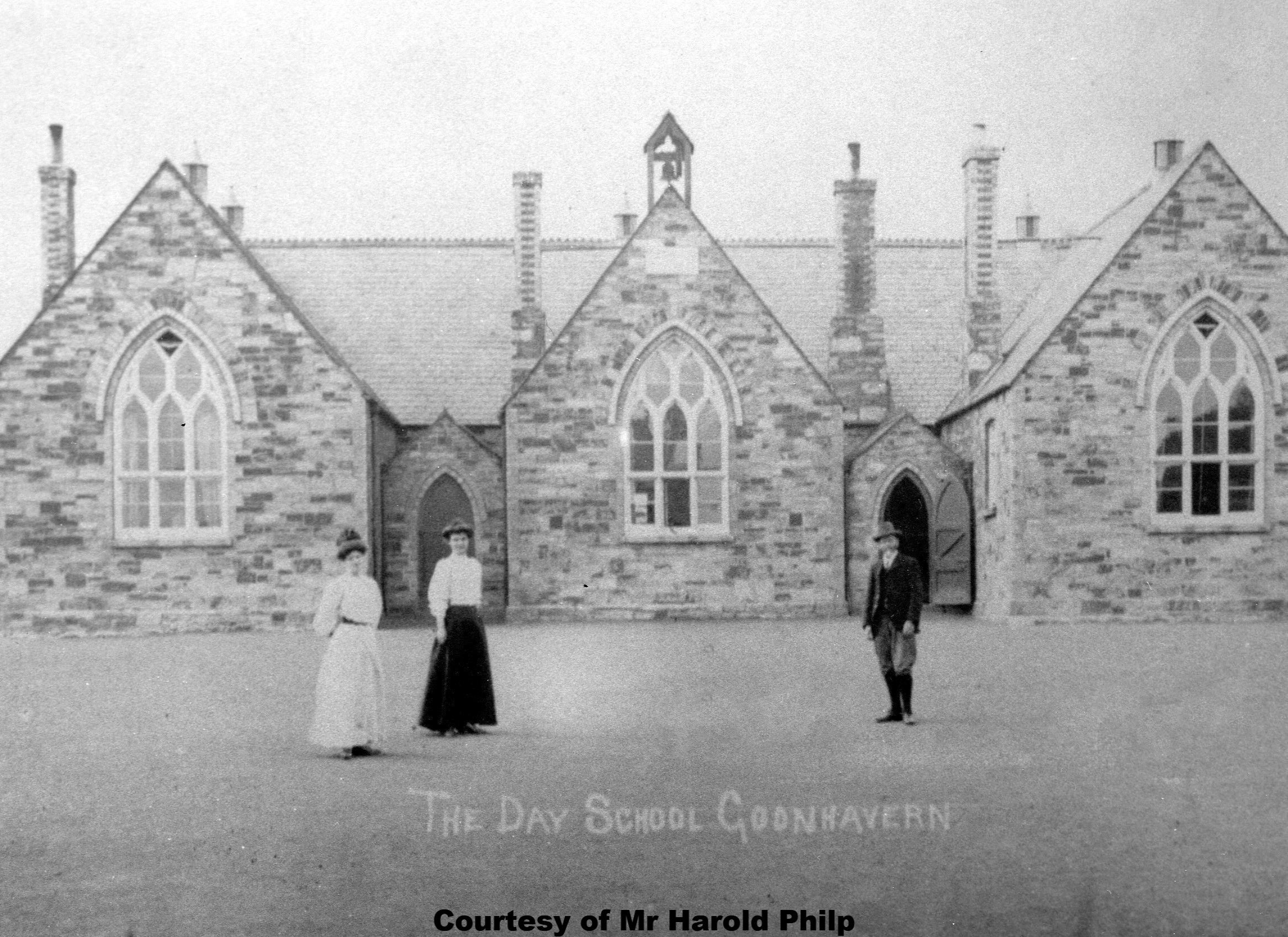 Goonhavern County Primary School Circa 1910. Here is Headmaster Mr Matthew Hoskin Keast with his two daughters Martha and Olga both Teachers