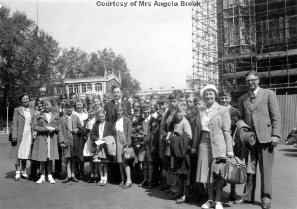 Goonhavern & St Agnes School at Houses of Parliament Festival of Britain Trip 1951 with Mr Wilson Truro Conservative M.P.