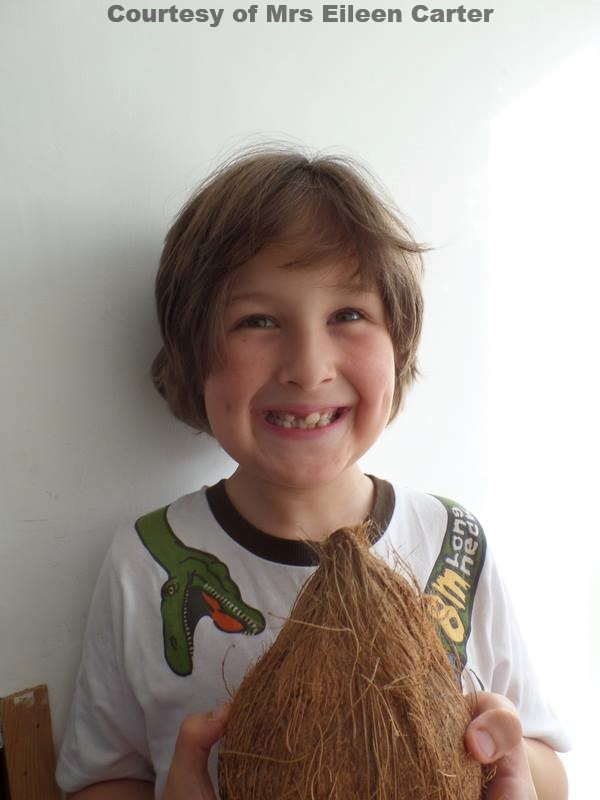 A delighter young Perran wins a Coconut at Goonhavern Fete 60th Anniversary on 16th Aug 2014.